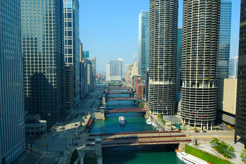 σκηνή ποταμών του Σικάγου στοκ φωτογραφίες