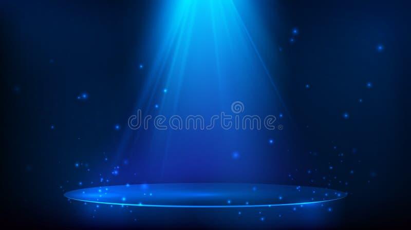Σκηνή που φωτίζεται με το μπλε φως Μαγικό υπόβαθρο κομμάτων r ελεύθερη απεικόνιση δικαιώματος