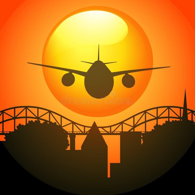 Σκηνή σκιαγραφιών με το αεροπλάνο που πετά πέρα από τη γέφυρα ελεύθερη απεικόνιση δικαιώματος