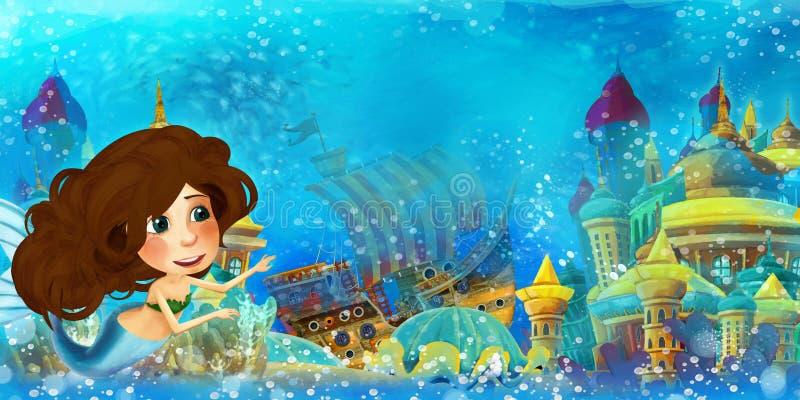 Σκηνή στον ωκεανό με γελοιογραφίες και η πριγκίπισσα της γοργόνας στο υποβρύχιο βασίλειο που κολυμπά και διασκεδάζει κοντά στο βυ στοκ εικόνα με δικαίωμα ελεύθερης χρήσης