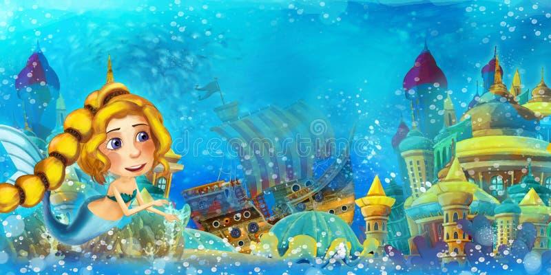 Σκηνή στον ωκεανό με γελοιογραφίες και η πριγκίπισσα της γοργόνας στο υποβρύχιο βασίλειο που κολυμπά και διασκεδάζει κοντά στο βυ στοκ φωτογραφίες με δικαίωμα ελεύθερης χρήσης