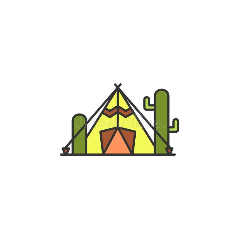 σκηνή στο χρωματισμένο έρημος εικονίδιο Στοιχείο του άγριου δυτικού εικονιδίου για την κινητούς έννοια και τον Ιστό apps Η σκηνή  ελεύθερη απεικόνιση δικαιώματος