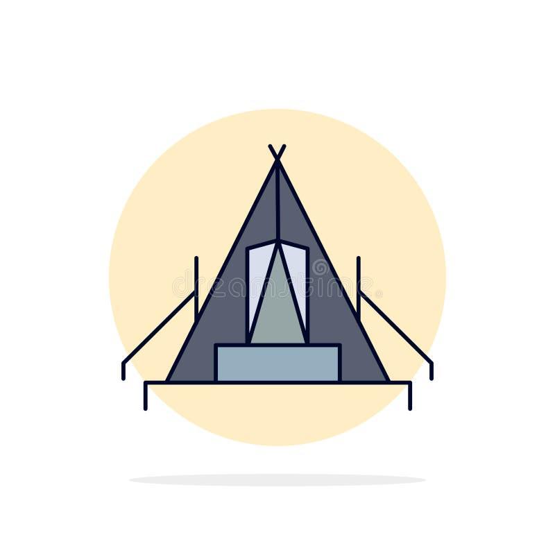 σκηνή, στρατοπέδευση, στρατόπεδο, θέση για κατασκήνωση, υπαίθριο επίπεδο διάνυσμα εικονιδίων χρώματος διανυσματική απεικόνιση