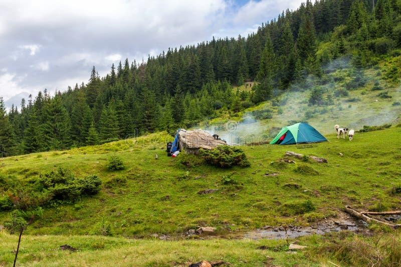 Σκηνή στρατοπέδευσης στα Καρπάθια βουνά, ταξίδι καλοκαιριού, Ουκρανία, Ευρώπη στοκ εικόνες με δικαίωμα ελεύθερης χρήσης