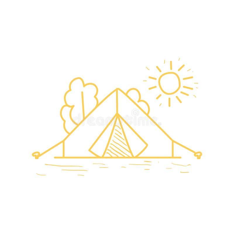 Σκηνή στρατόπεδων κάτω από τη The Sun διανυσματική απεικόνιση
