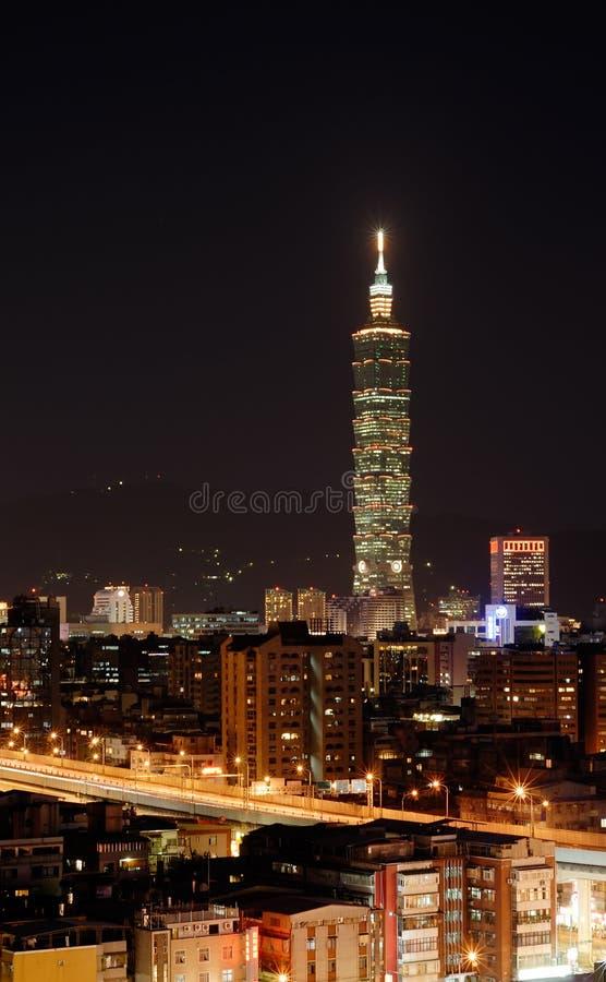 σκηνή Ταιπέι νύχτας πόλεων στοκ φωτογραφίες με δικαίωμα ελεύθερης χρήσης
