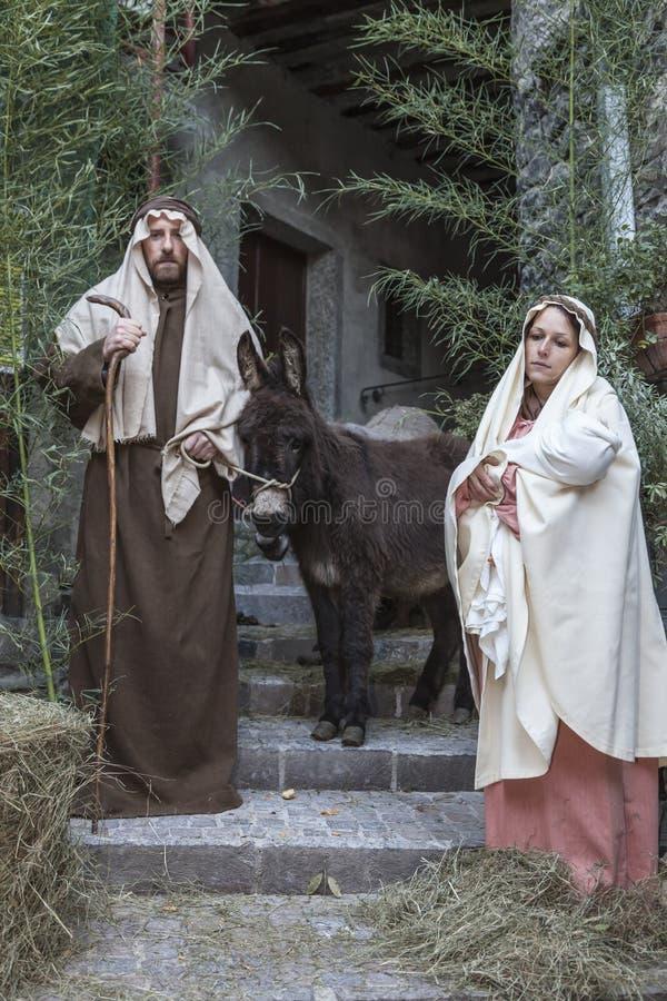 Σκηνή της ζωής του Ιησού Η πτήση στην Αίγυπτο στοκ φωτογραφίες με δικαίωμα ελεύθερης χρήσης