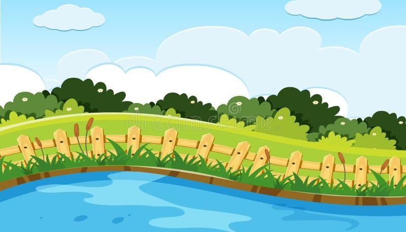 Σκηνή του πάρκου και της λίμνης διανυσματική απεικόνιση