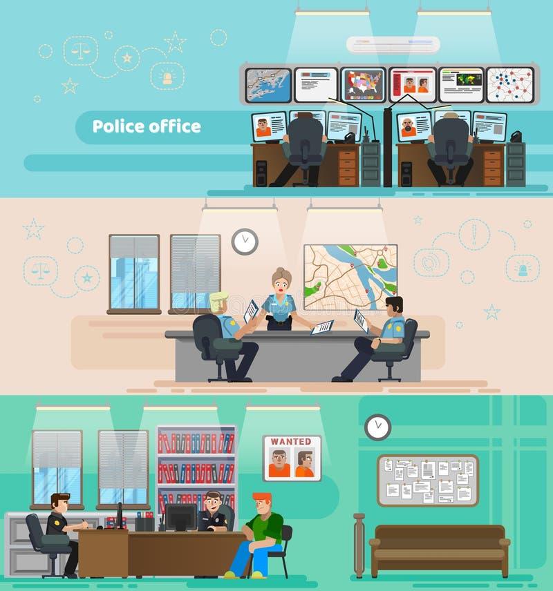 Σκηνή των ανθρώπων που εργάζονται σε ένα αστυνομικό τμήμα ελεύθερη απεικόνιση δικαιώματος