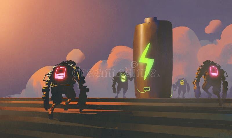 Σκηνή των ρομπότ με την ενεργειακή θέση διανυσματική απεικόνιση
