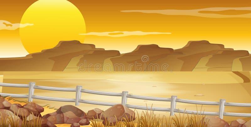 Σκηνή υποβάθρου με την έρημο στο ηλιοβασίλεμα ελεύθερη απεικόνιση δικαιώματος