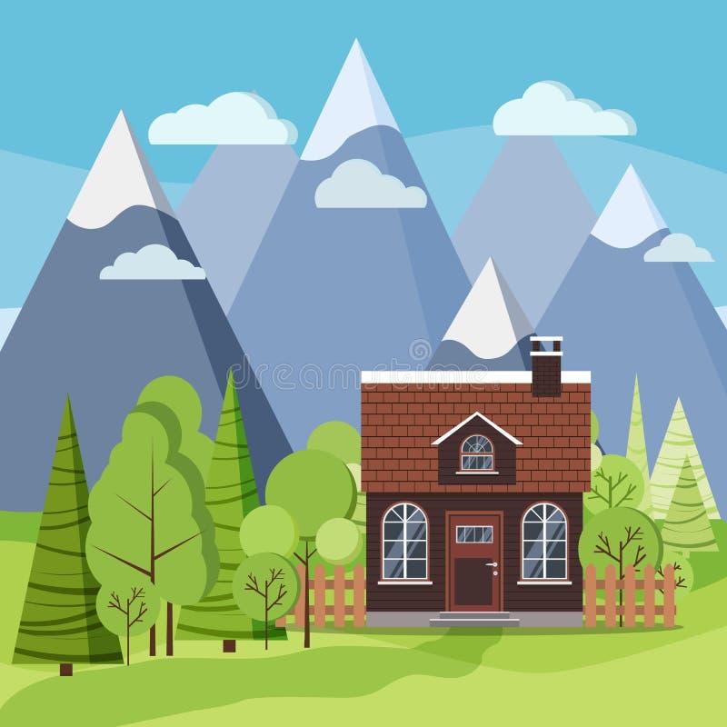 Σκηνή υποβάθρου τοπίων βουνών άνοιξης ή καλοκαιριού με το αγροτικό σπίτι ελεύθερη απεικόνιση δικαιώματος