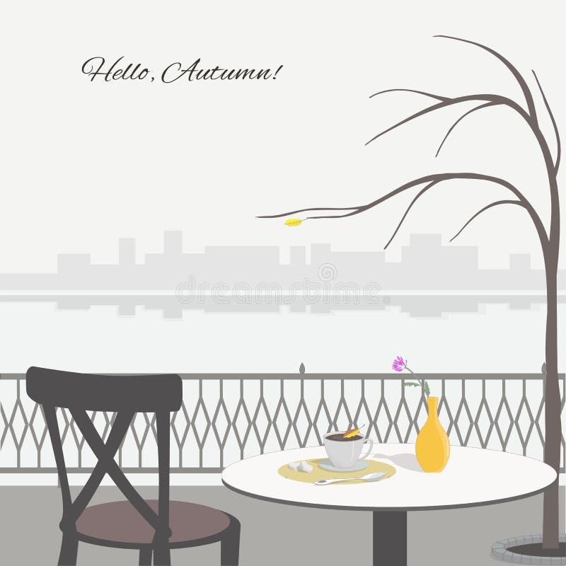 Σκηνή φθινοπώρου με τον πίνακα καφέδων στο ανάχωμα απεικόνιση αποθεμάτων