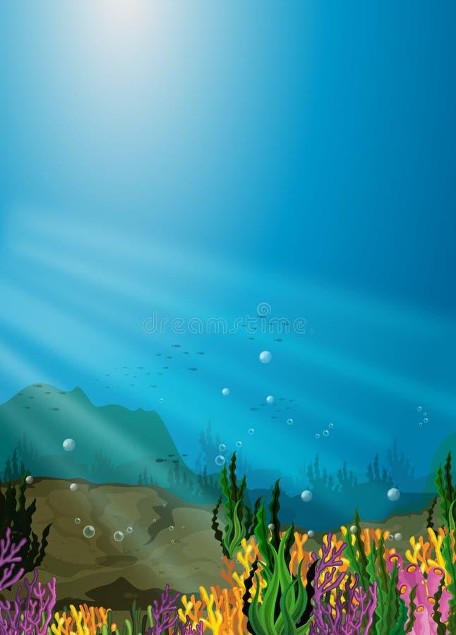 Σκηνή φύσης κάτω από τη θάλασσα με την κοραλλιογενή ύφαλο ελεύθερη απεικόνιση δικαιώματος