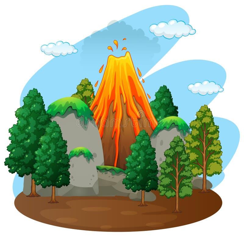 Σκηνή φύσης με την έκρηξη ηφαιστείων διανυσματική απεικόνιση
