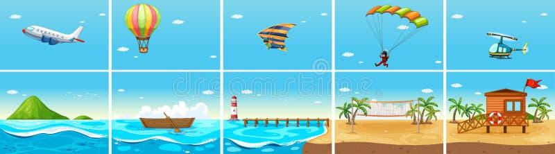 Σκηνή φύσης με τον ωκεανό και την παραλία διανυσματική απεικόνιση