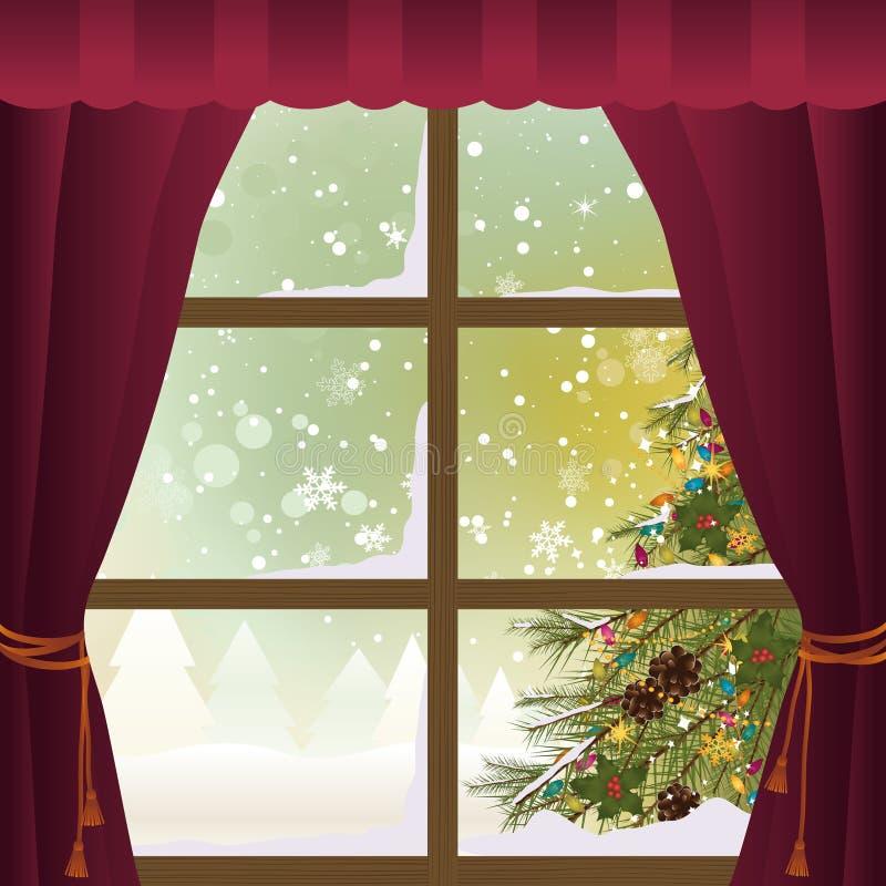 Σκηνή Χριστουγέννων μέσω ενός παραθύρου στοκ εικόνα