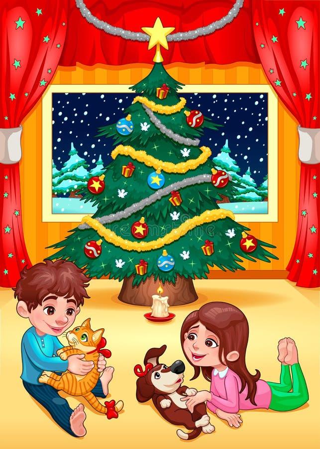 Σκηνή Χριστουγέννων με τα παιδιά και τα κατοικίδια ζώα διανυσματική απεικόνιση