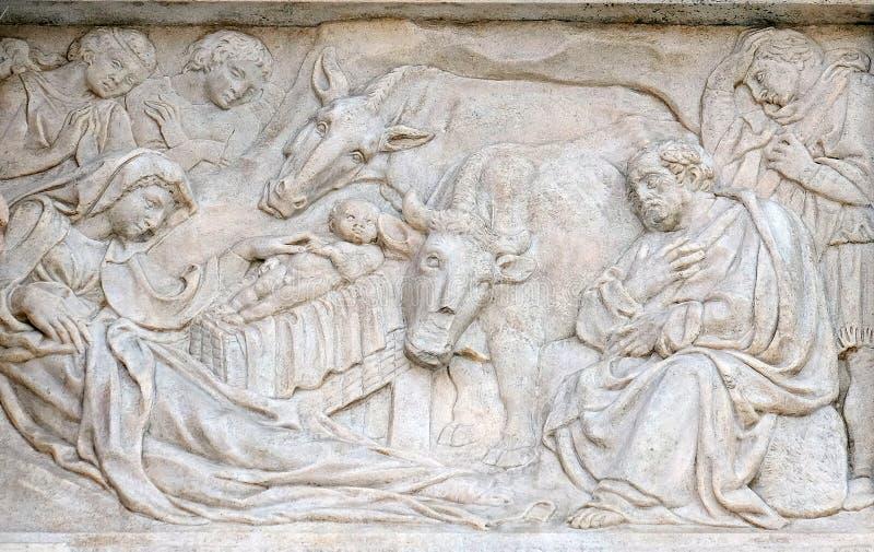 Σκηνή Nativity, λατρεία των ποιμένων στοκ εικόνες