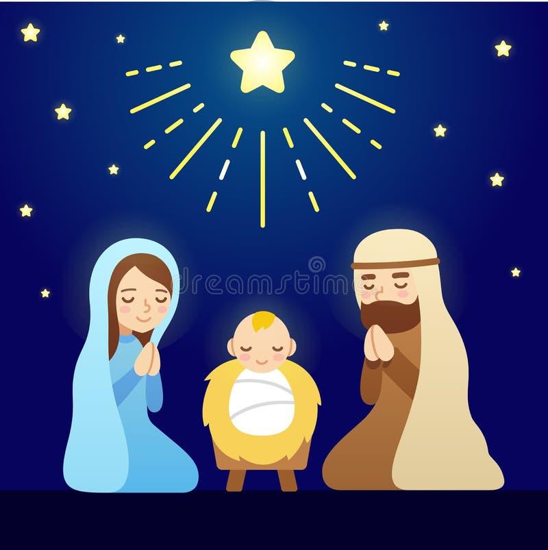 Σκηνή nativity κινούμενων σχεδίων διανυσματική απεικόνιση
