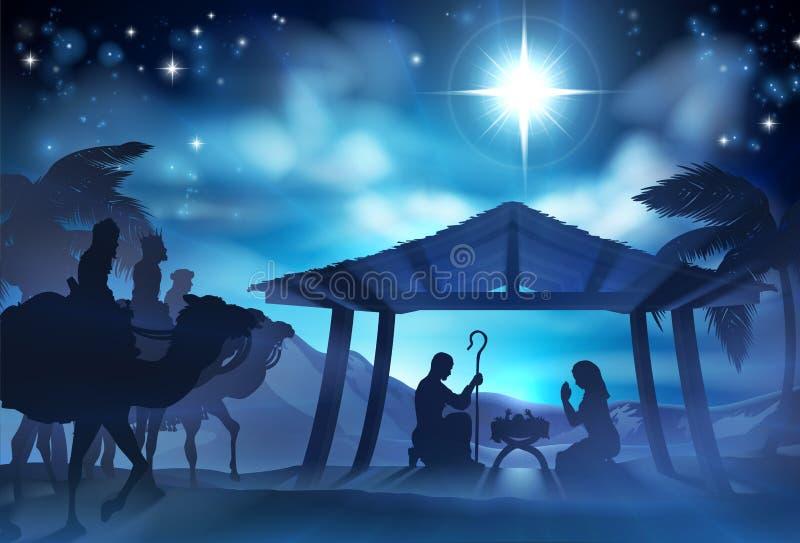 Σκηνή Nativity με τρεις σοφούς ανθρώπους ελεύθερη απεικόνιση δικαιώματος