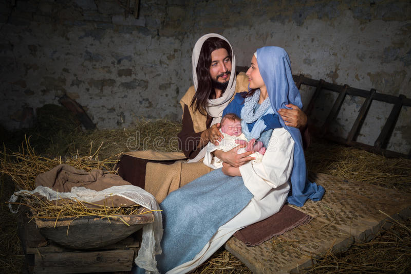 Σκηνή Nativity σε μια σιταποθήκη στοκ εικόνες με δικαίωμα ελεύθερης χρήσης