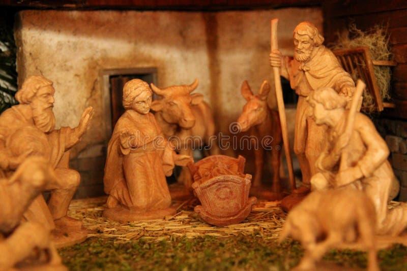 σκηνή nativity του Ιησού Josef Mary παχνιών Χριστουγέννων Χριστού στοκ εικόνα