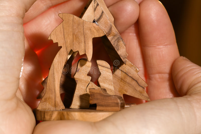 σκηνή nativity χεριών στοκ φωτογραφίες