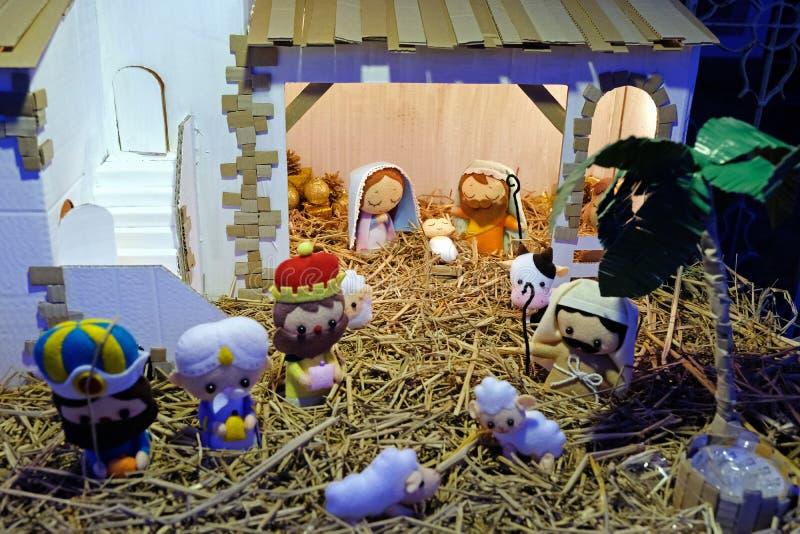 Σκηνή Nativity Χριστουγέννων με το μωρό Ιησούς στοκ φωτογραφία