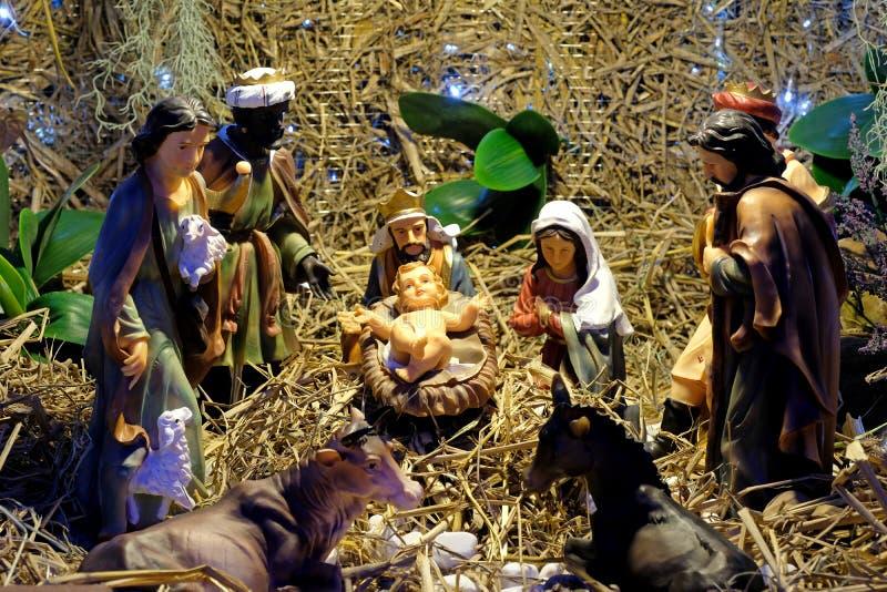 Σκηνή Nativity Χριστουγέννων με το μωρό Ιησούς στοκ εικόνες