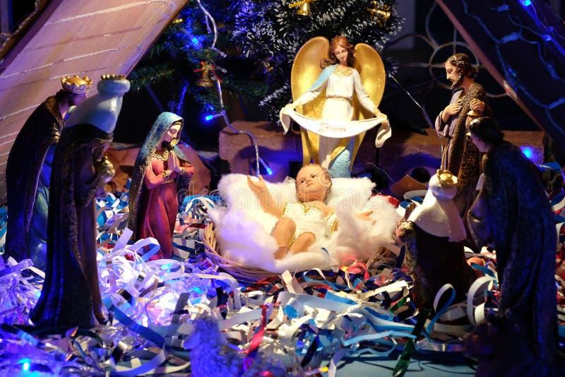Σκηνή Nativity Χριστουγέννων με το μωρό Ιησούς στοκ φωτογραφία με δικαίωμα ελεύθερης χρήσης
