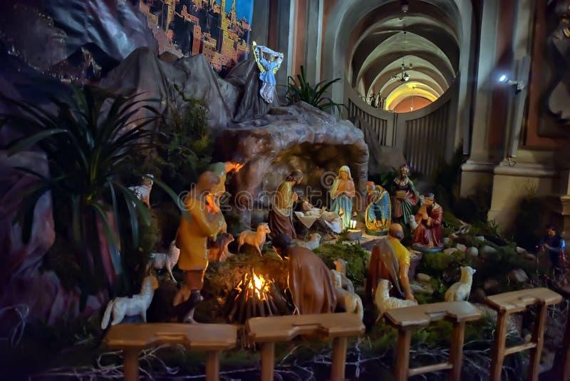 Σκηνή nativity Χριστουγέννων με το μωρό Ιησούς, Mary & Joseph στοκ εικόνα με δικαίωμα ελεύθερης χρήσης