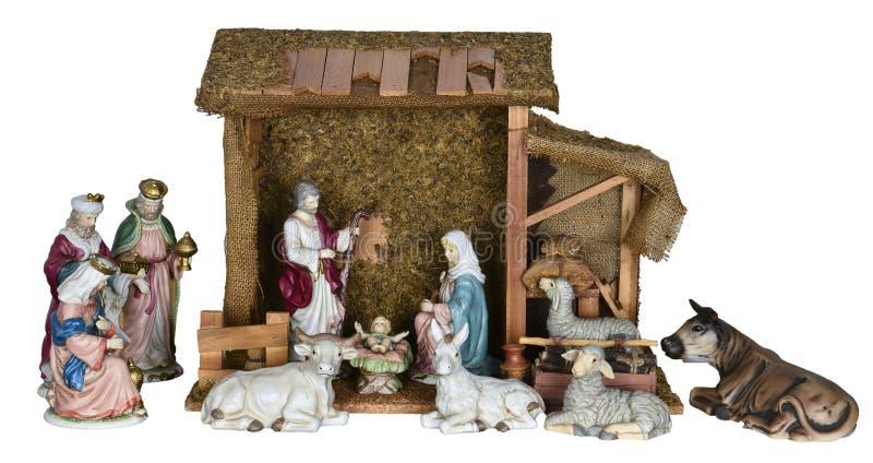 Σκηνή Nativity Χριστουγέννων που απομονώνεται στοκ εικόνες