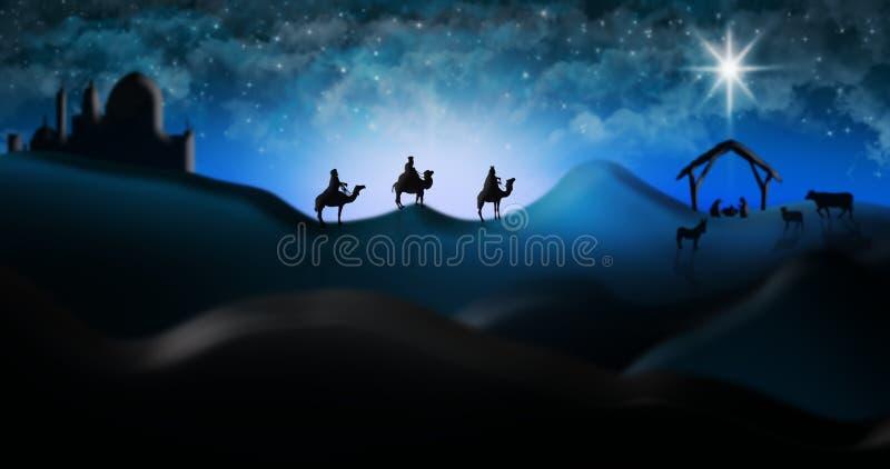 Σκηνή Nativity Χριστουγέννων τριών μάγων σοφών ανθρώπων που πηγαίνουν να συναντήσει το BA απεικόνιση αποθεμάτων
