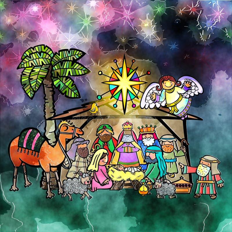 Σκηνή Nativity Watercolour Χριστουγέννων απεικόνιση αποθεμάτων