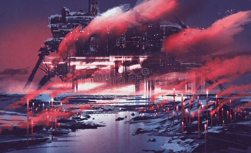 σκηνή sci-Fi της βιομηχανικής πόλης διανυσματική απεικόνιση