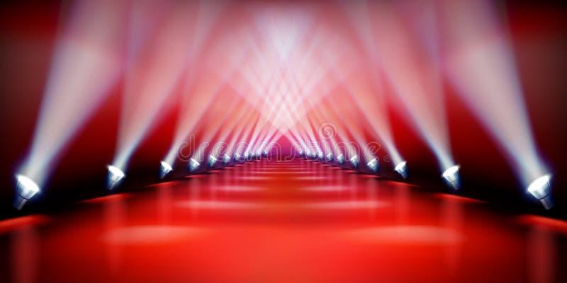 Σκηνική εξέδρα κατά τη διάρκεια της επίδειξης Κόκκινο χαλί επίσης corel σύρετε το διάνυσμα απεικόνισης απεικόνιση αποθεμάτων