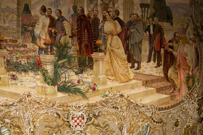 Σκηνική κουρτίνα του κροατικού εθνικού θεάτρου στοκ εικόνα