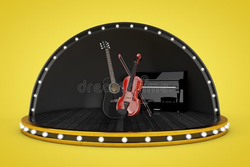 Σκηνική σκηνή με τα φω'τα και το πιάνο, μαύρη ξύλινη ακουστική κιθάρα ελεύθερη απεικόνιση δικαιώματος
