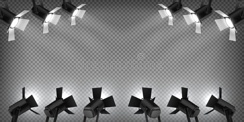 Σκηνικό επίκεντρο Ελαφριά, ρεαλιστική επίδραση στούντιο προβολέων λαμπτήρων συναυλίας, φως συναυλίας στο διαφανές υπόβαθρο r ελεύθερη απεικόνιση δικαιώματος