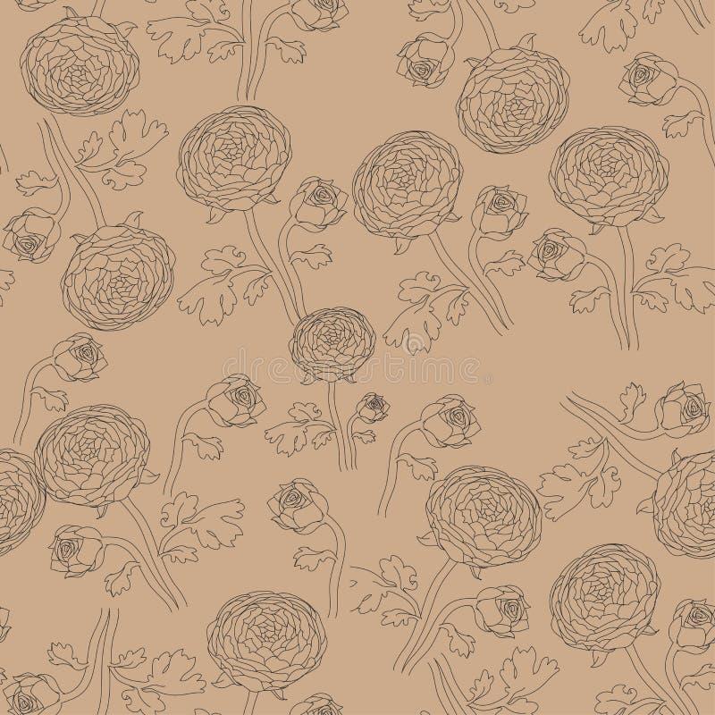Σκηνικό με συρμένα τα χέρι λουλούδια περιγράμματος Peonies με τους μεγάλους οφθαλμούς στους μίσχους floral άνευ ραφής διάνυσμα πρ απεικόνιση αποθεμάτων