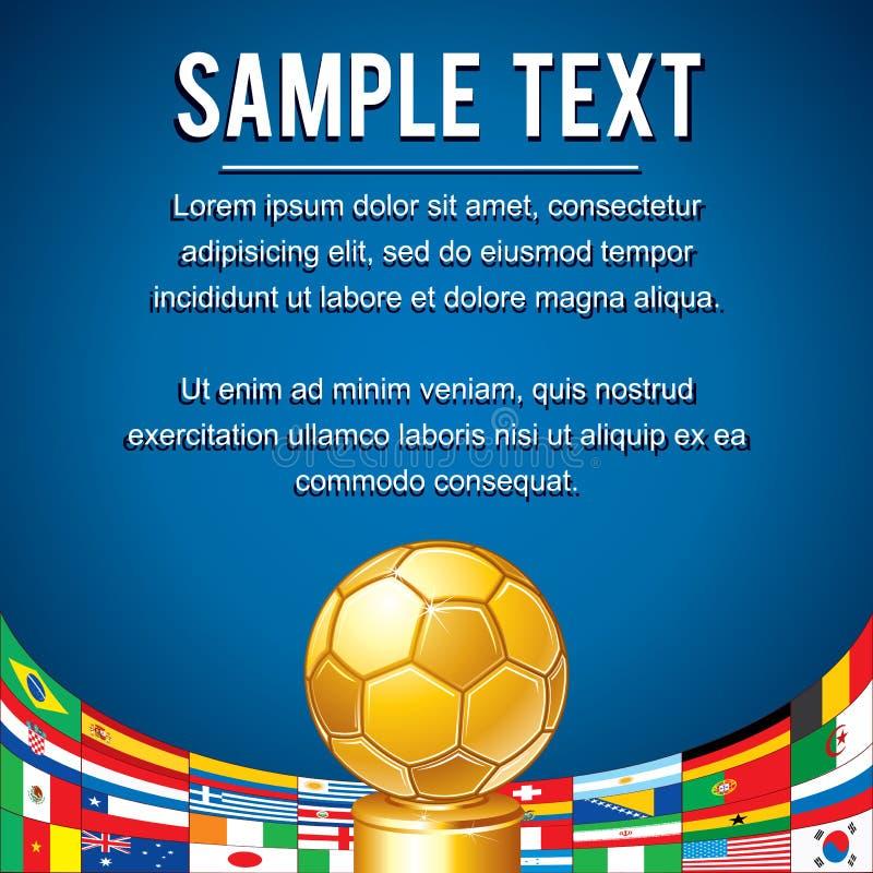 Σκηνικό ποδοσφαίρου με το αφηρημένο χρυσό φλυτζάνι ελεύθερη απεικόνιση δικαιώματος