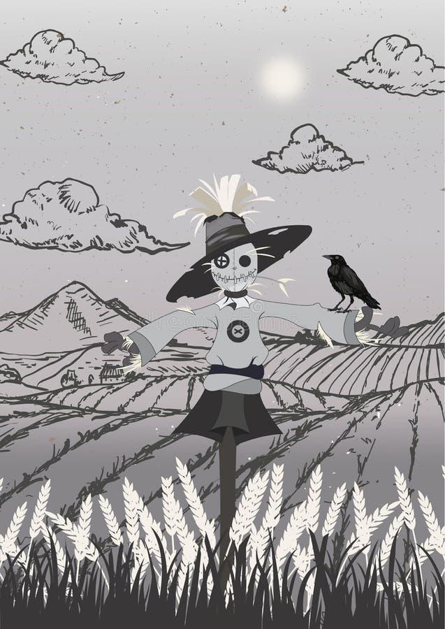 Σκιάχτρο στο μαύρο και γκρίζο μέγεθος πορτρέτου τομέων ελεύθερη απεικόνιση δικαιώματος