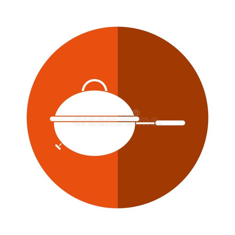 Σκιά κουμπιών στρατοπέδευσης τροφίμων κατσαρολών σχαρών σχαρών διανυσματική απεικόνιση