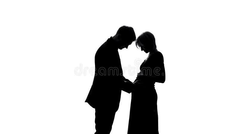 Σκιά νεαρών άνδρων που αγκαλιάζει την έγκυο κοιλιά συζύγων, που αναμένει το ζεύγος, ευτυχής πατρότητα στοκ εικόνες με δικαίωμα ελεύθερης χρήσης