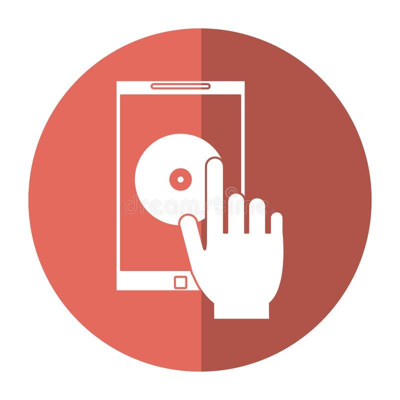 Σκιά τεχνολογίας εφαρμογής μουσικής smartphone λαβής χεριών ελεύθερη απεικόνιση δικαιώματος