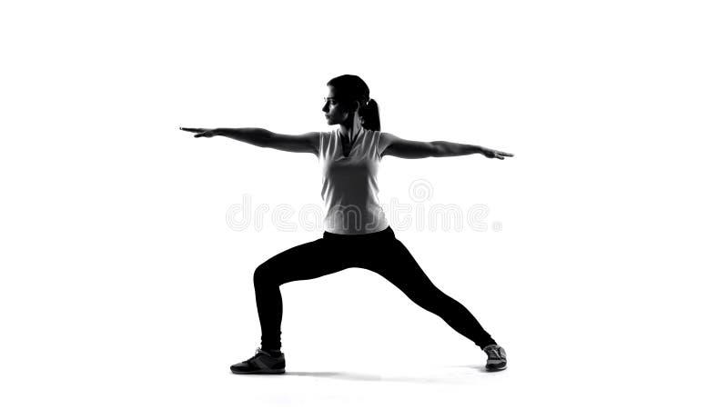 Σκιά της νέας γυναίκας που κάνει τις ασκήσεις γιόγκας και που, αθλητική υγειονομική περίθαλψη στοκ φωτογραφία με δικαίωμα ελεύθερης χρήσης