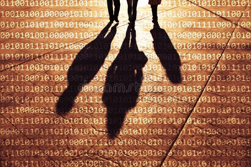 Σκιά των ανθρώπων που περπατούν με τους δυαδικούς αριθμούς διανυσματική απεικόνιση