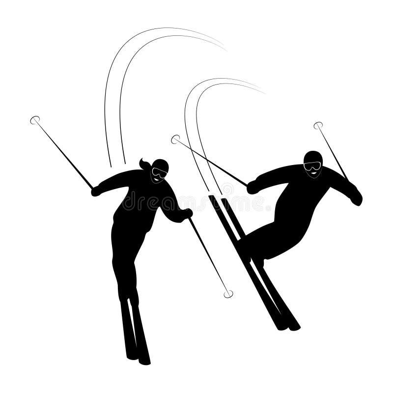 Σκιέρ ζεύγους που χαμογελούν την οδήγηση στο σκι στο χειμώνα χιονιού διανυσματική απεικόνιση