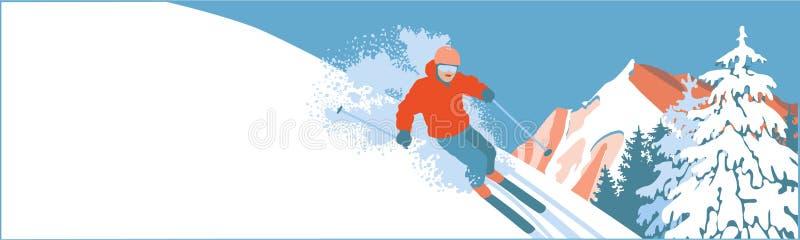 Σκιέρ σε μια κλίση χιονιού ελεύθερη απεικόνιση δικαιώματος